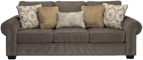 Benchcraft Emelen Transitional Queen Sofa Sleeper with Nailhead Trim & Coil Seating