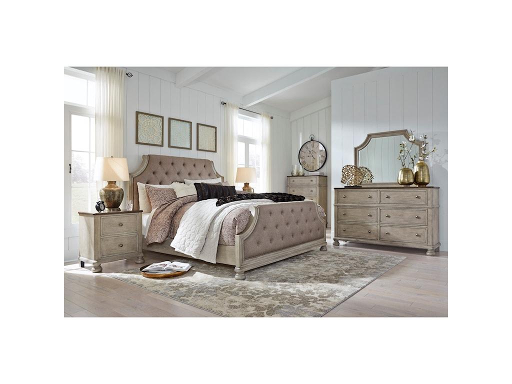 Benchcraft FalkhurstQueen Upholstered Panel Bed