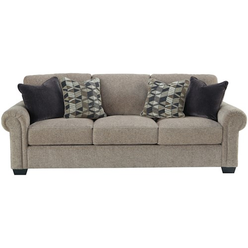 Benchcraft Fehmarn Stationary Sofa with Rolled Arms