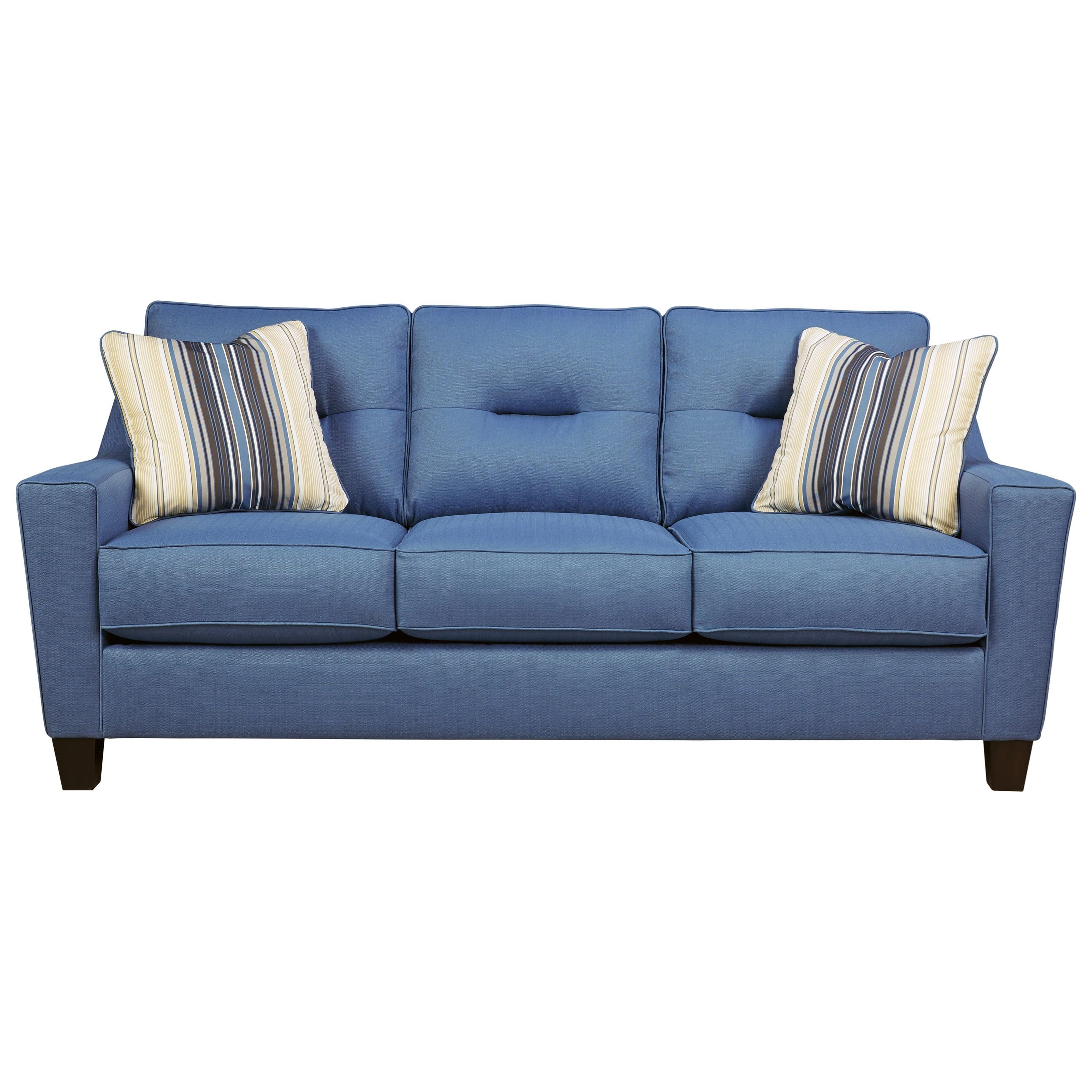 Benchcraft Forsan Nuvella Contemporary Sofa In Performance Fabric   Dunk U0026  Bright Furniture   Sofas