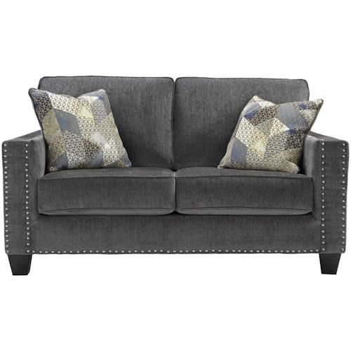 Benchcraft Gavril Contemporary Loveseat with Nailhead Trim