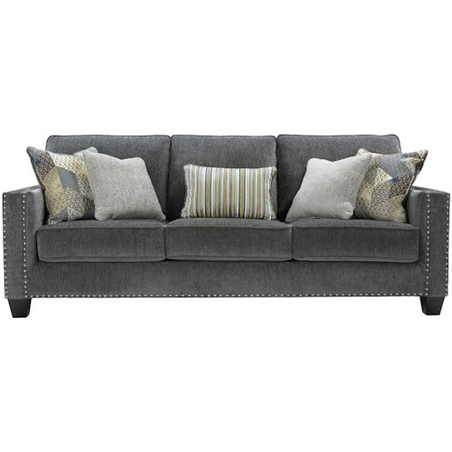 Benchcraft Gavril Contemporary Sofa with Nailhead Trim