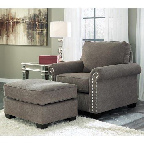 Benchcraft Gilman Transitional Chair with Nailheads & Ottoman