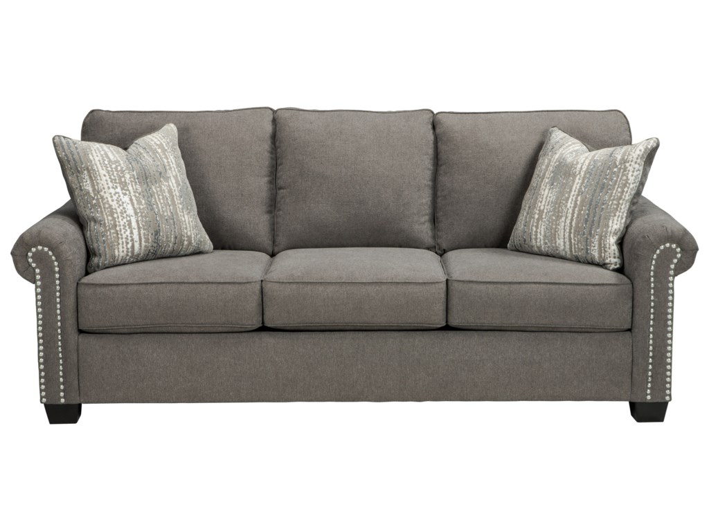 Benchcraft Gilman Transitional Sofa With Nailheads Value City Furniture Sofas