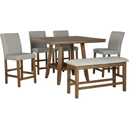 6-Piece Counter Height Table Set with Bench