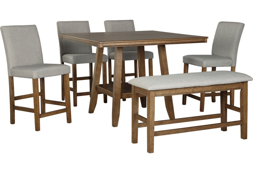 Glennox 6-Piece Counter Height Table Set with Bench