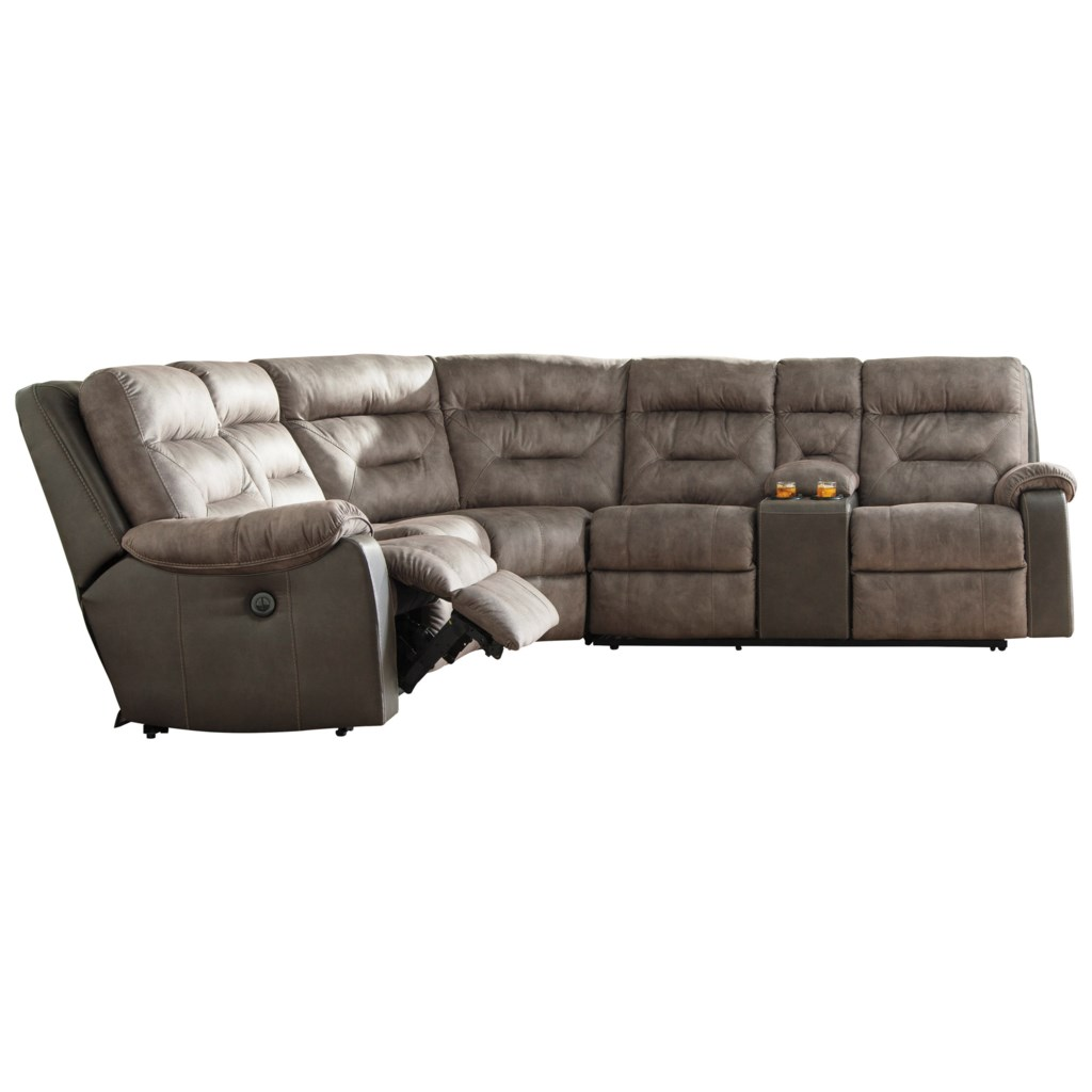 Benchcraft By Ashley Hacklesbury Two Tone Reclining Sectional With