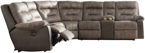 Benchcraft by Ashley Hacklesbury Two-Tone Reclining Sectional with Storage Console