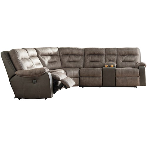 Benchcraft Hacklesbury Two-Tone Reclining Sectional with Storage Console