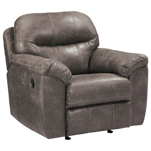 Benchcraft Havilyn Gray Faux Leather Rocker Recliner