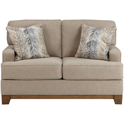 Benchcraft Hillsway Contemporary Loveseat with Exposed Wood Front Rail