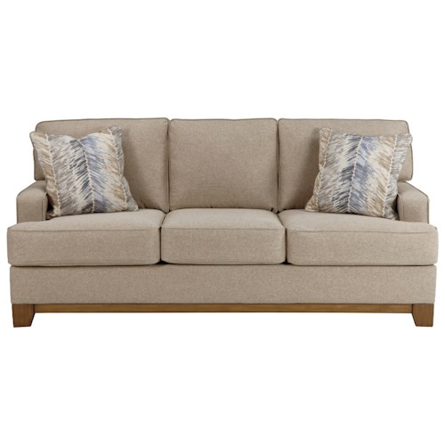 Benchcraft Simon Contemporary Sofa with Exposed Wood Front Rail
