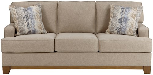 Benchcraft Hillsway Contemporary Sofa with Exposed Wood Front Rail
