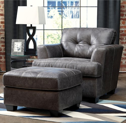 Benchcraft by Ashley Inmon Faux Leather Chair & Ottoman