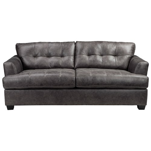 Benchcraft Inmon Faux Leather Sofa with Tufted Back