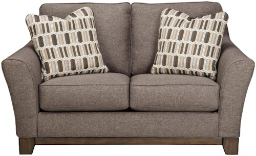Benchcraft Janley Contemporary Loveseat with Front Wood Rail