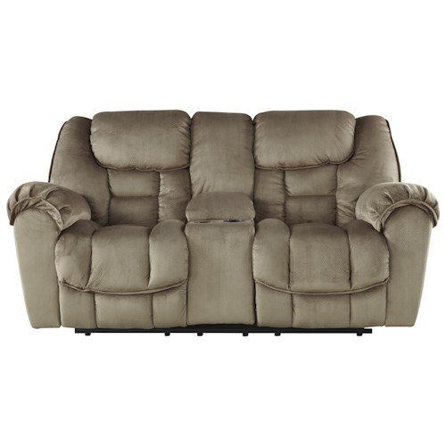 Benchcraft Jodoca Glider Reclining Loveseat w/ Console, USB Charging & Cup Holders