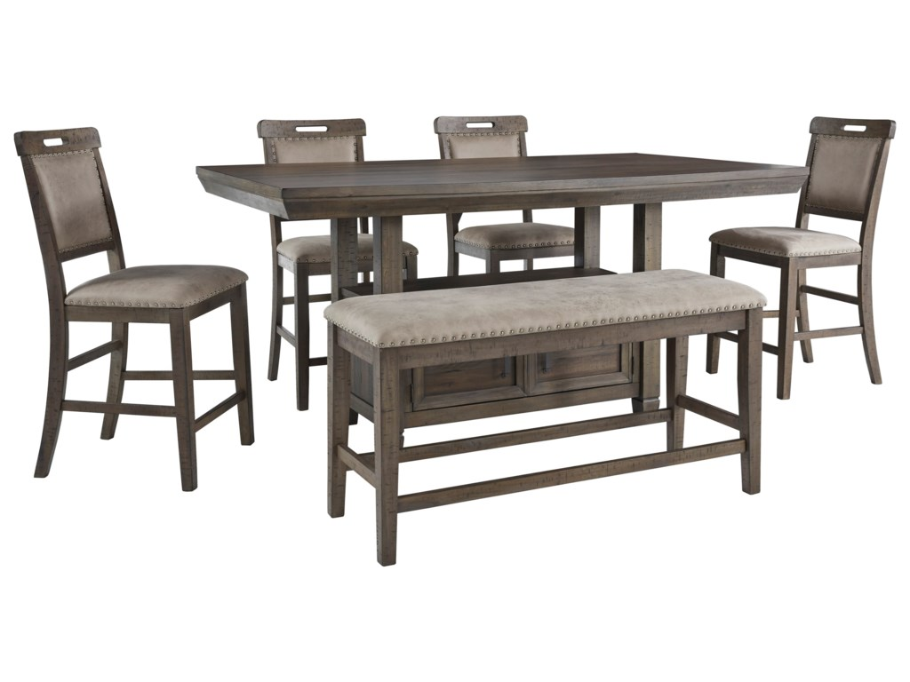 Benchcraft Johurst6-Piece Counter Height Dining Set with Bench
