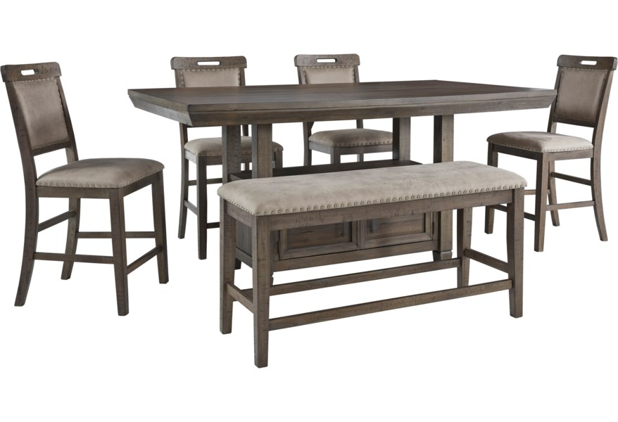 Benchcraft Johurst 6 Piece Counter Height Dining Set With Bench Standard Furniture Table Chair Set With Bench