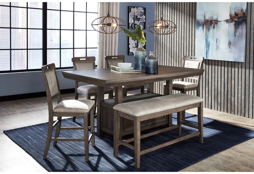 Benchcraft Johurst 6 Piece Counter Height Dining Set With Bench Value City Furniture Table Chair Set With Bench