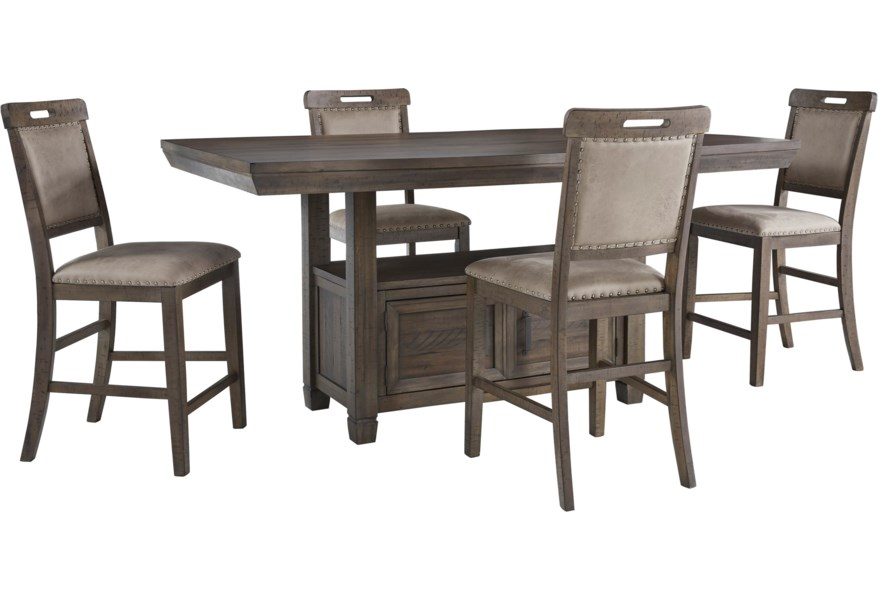 Benchcraft Johurst 5 Piece Counter Height Dining Set Simply Home By Lindy S Pub Table And Stool Sets
