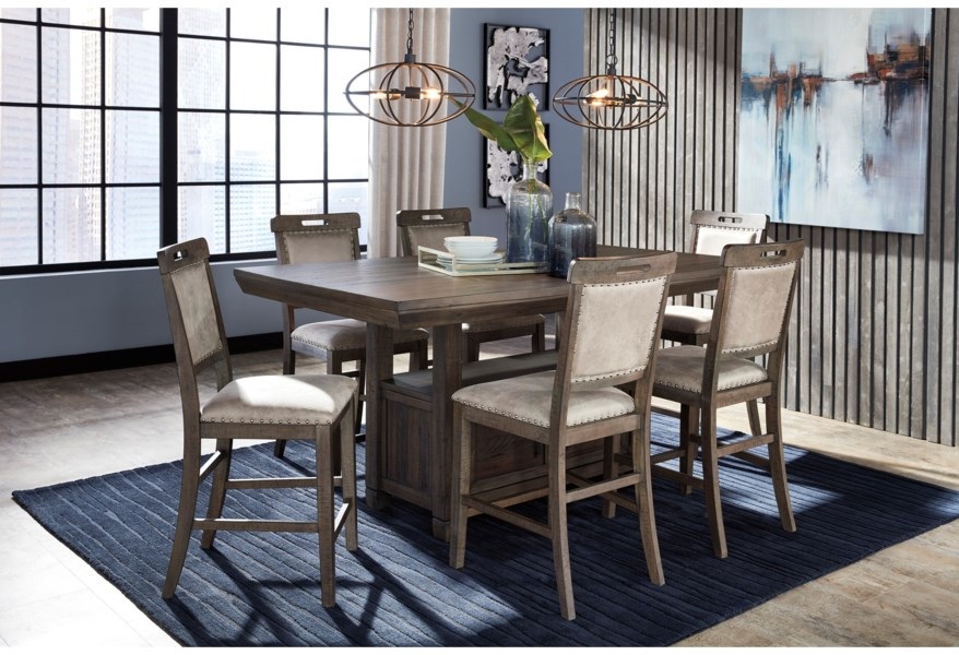Benchcraft Johurst 7 Piece Counter Height Dining Set Fisher Home Furnishings Pub Table And Stool Sets