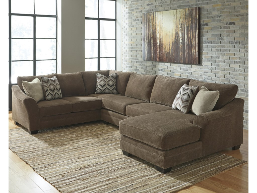 Justyna Contemporary 3-Piece Sectional with Right Chaise by Benchcraft at  Sam Levitz Furniture