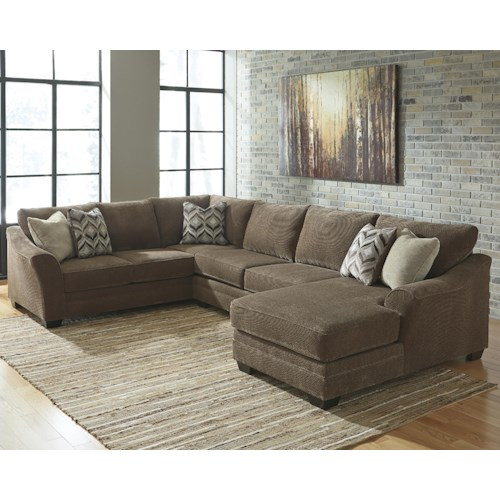 benchcraft justyna contemporary 3 piece sectional with right chaise - Sectional With Chaise