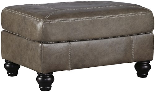 Benchcraft Kannerdy Leather Match Ottoman with Turned Feet