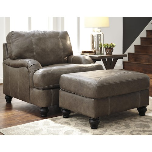 Benchcraft Kannerdy Leather Match Chair With English Arms Ottoman Walker 39 S Furniture Chair