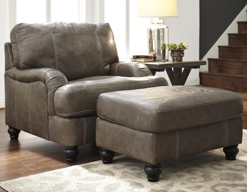 Benchcraft Kannerdy Leather Match Chair with English Arms & Ottoman