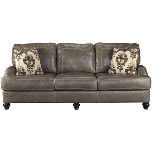 Benchcraft Kannerdy Leather Match Queen Sofa Sleeper with English Arms