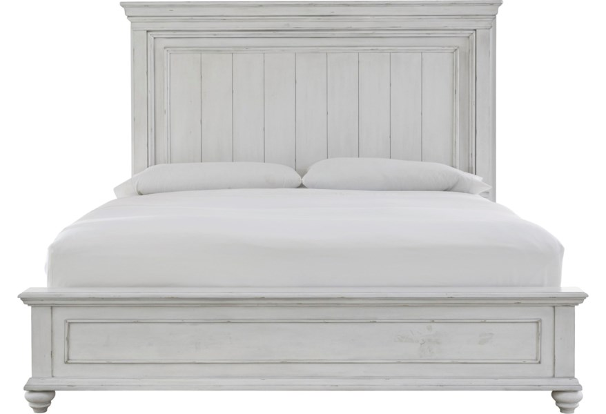 Benchcraft Kanwyn Relaxed Vintage King Panel Bed With Distressed Finish Reid S Furniture Panel Beds