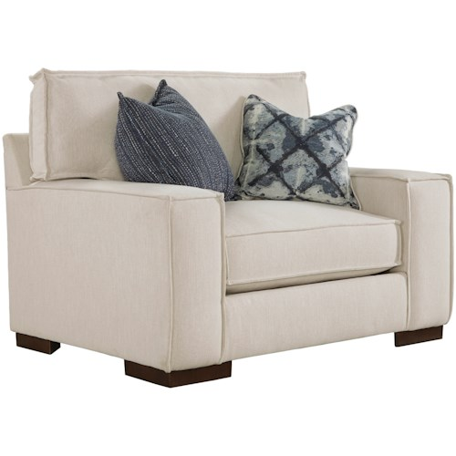 Benchcraft by Ashley Kendleton Modern Chair and a Half with Reversible UltraPlush Seat Cushion