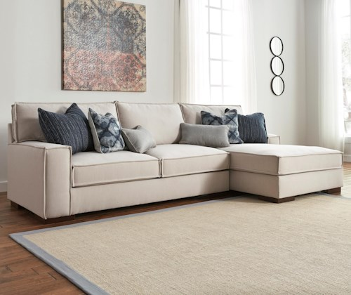 Benchcraft Kendleton Modern 2-Piece Sectional with Right Chaise and UltraPlush Seat Cushions