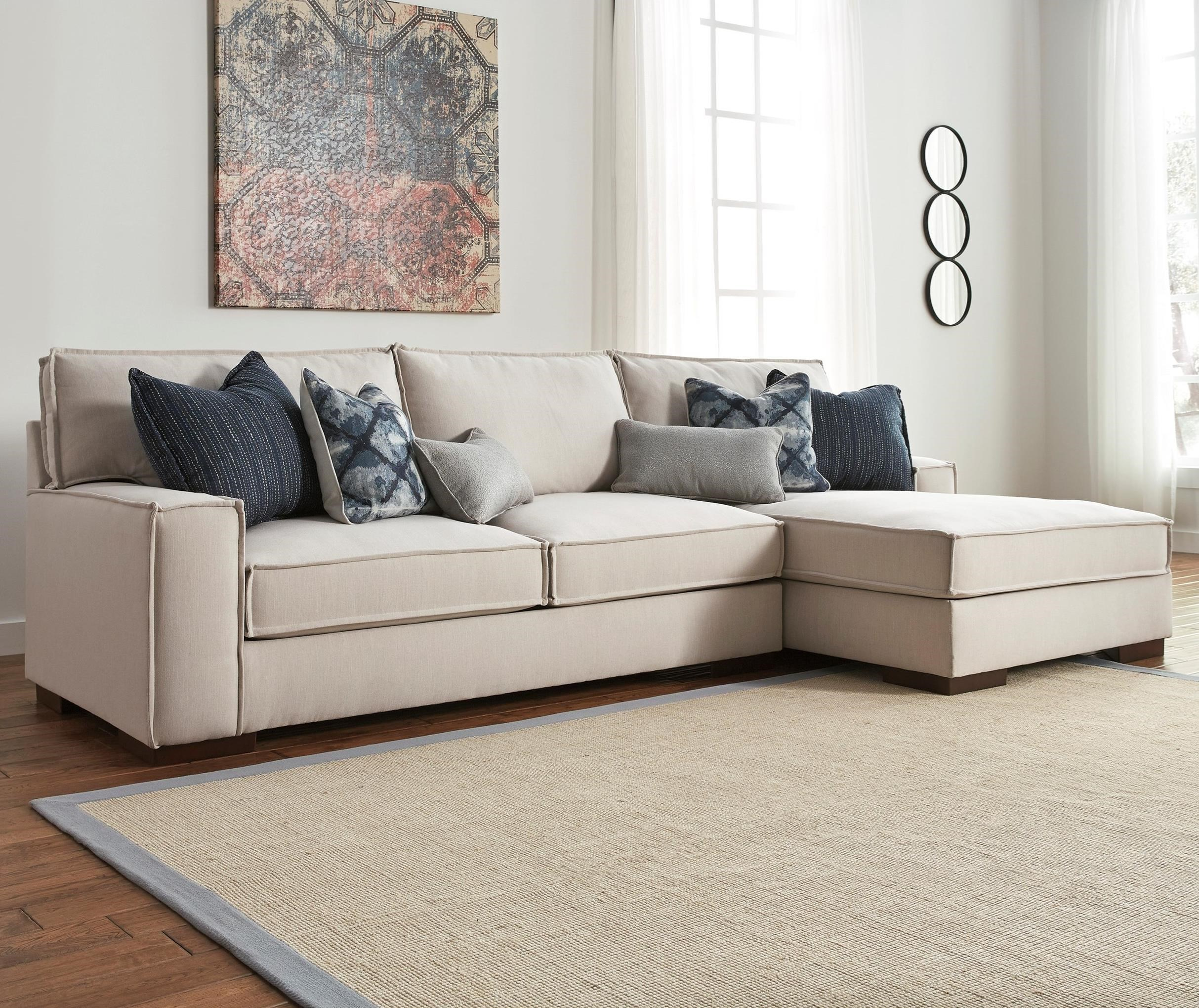 Benchcraft By Ashley Kendleton Modern 2 Piece Sectional With Right Chaise  And UltraPlush Seat Cushions
