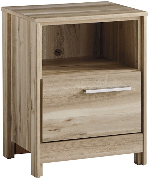 Benchcraft Kianni Contemporary One Drawer Night Stand with USB Charger