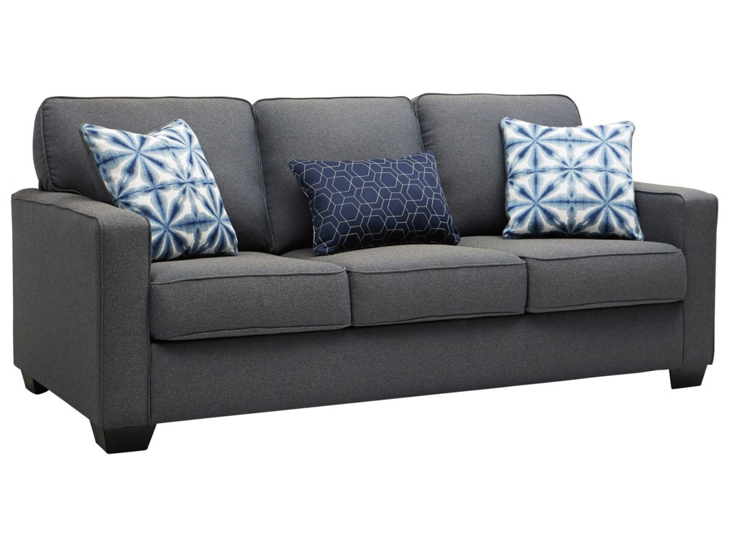 Kiessel Nuvella Contemporary Sofa in Easy-Clean Gray Fabric by Benchcraft  by Ashley at Royal Furniture