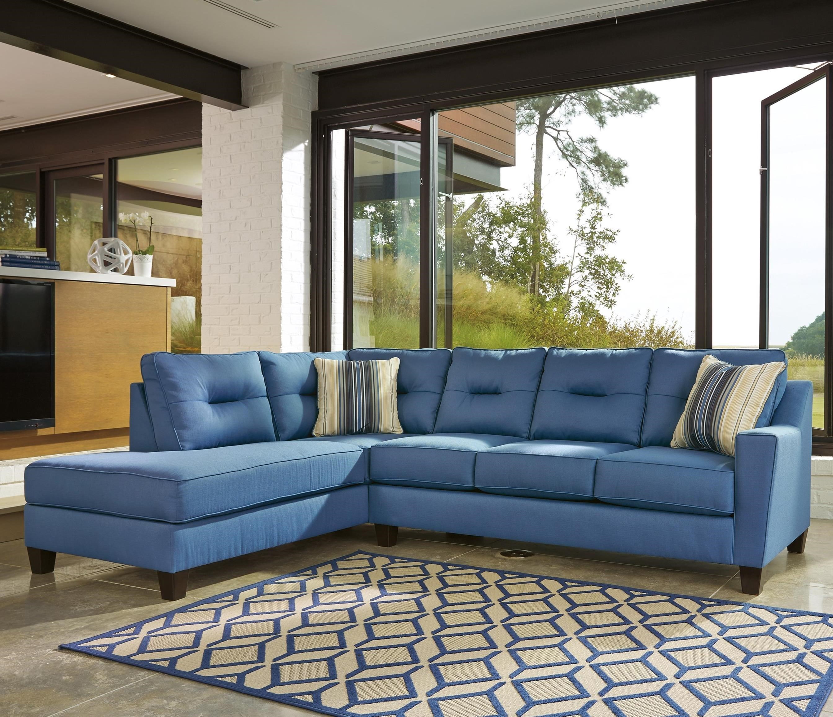 Benchcraft Kirwin Nuvella Sectional with Sleeper Sofa u0026 Left Chaise in Performance Fabric : blue sectional sofa with chaise - Sectionals, Sofas & Couches
