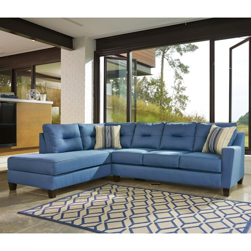 Benchcraft Kirwin Nuvella Sectional With Sleeper Sofa Left Chaise In Performance Fabric
