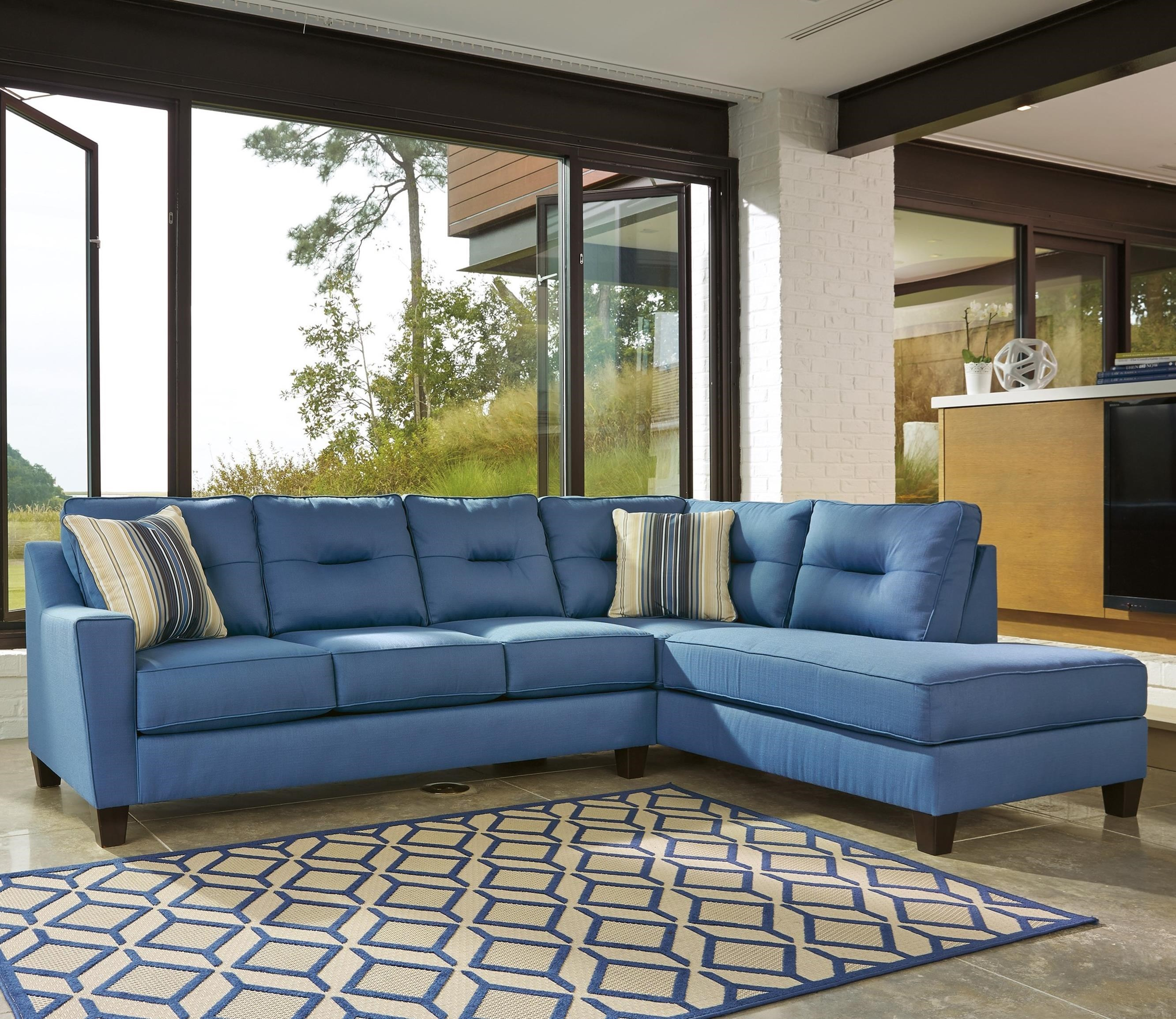 Benchcraft Kirwin Nuvella Sectional with Right Chaise in Performance Fabric : blue sectional sofa with chaise - Sectionals, Sofas & Couches