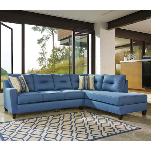 Benchcraft Kirwin Nuvella Sectional with Right Chaise in Performance Fabric
