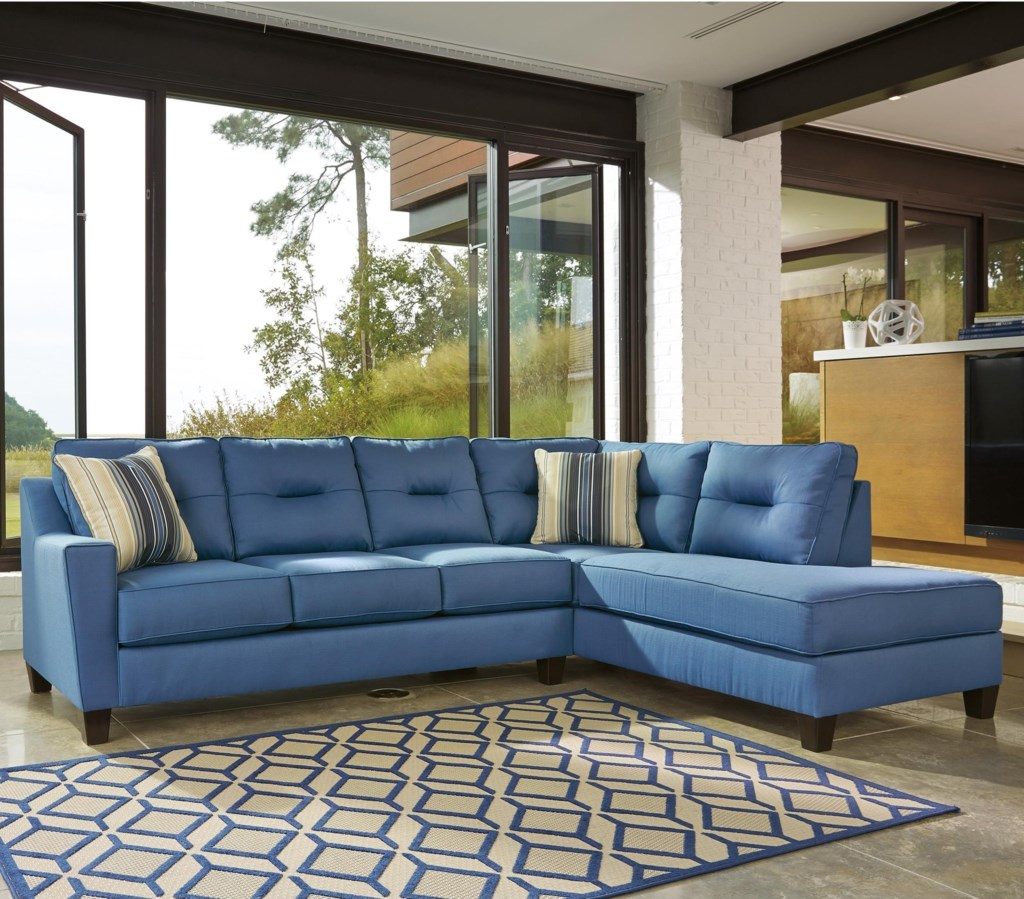 Benchcraft Kirwin Nuvella Sectional With Sleeper Sofa Right Chaise