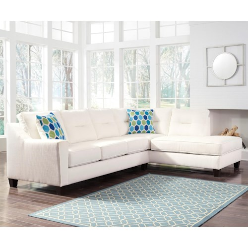 Benchcraft Kirwin Nuvella Sectional With Sleeper Sofa