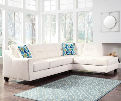 Benchcraft Kirwin Nuvella Sectional with Sleeper Sofa & Right
