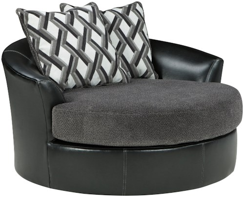 Benchcraft Kumasi Contemporary Fabric/Faux Leather Oversized Swivel Accent Chair