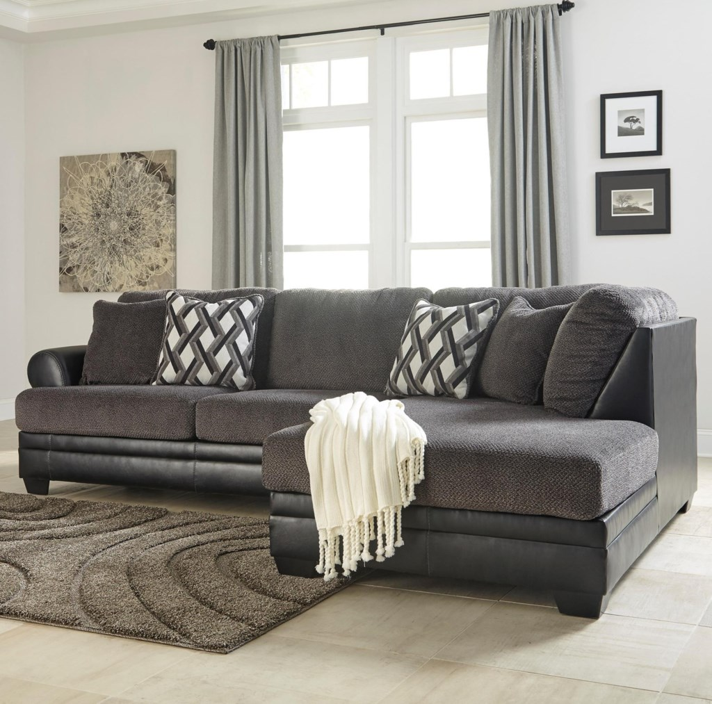 Benchcraft By Ashley Kumasi 2 Piece Fabric Faux Leather Sectional