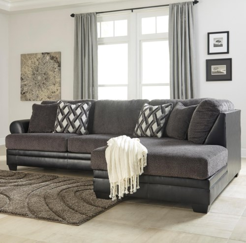 Benchcraft Kumasi 2 Piece Fabric Faux Leather Sectional With Right