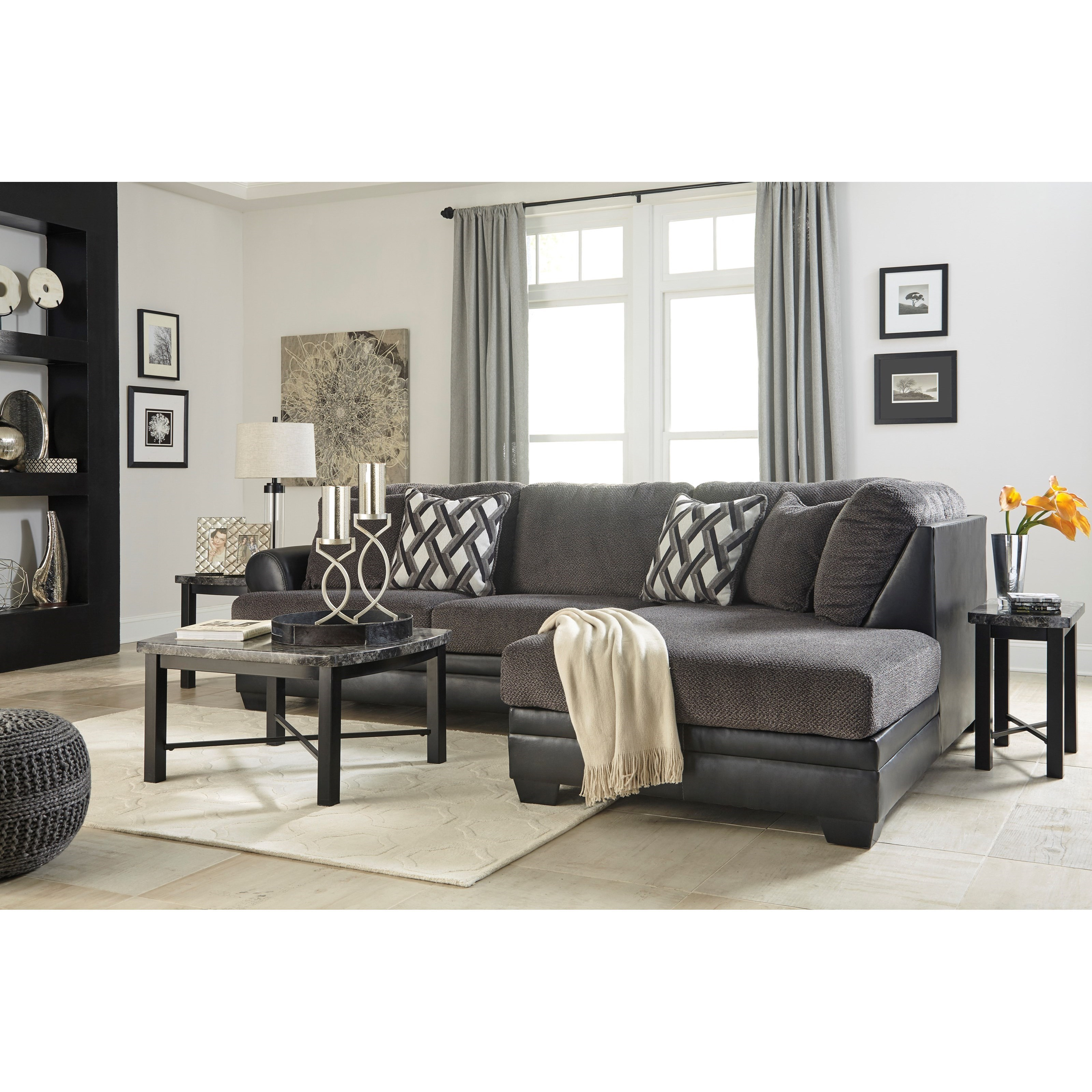 Benchcraft Kumasi 2 Piece Fabric Faux Leather Sectional With Right Chaise Wayside Furniture Sectional Sofas