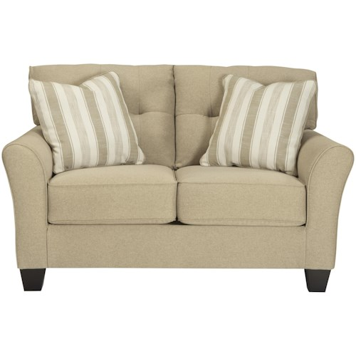 Benchcraft Laryn Contemporary Loveseat in Khaki Fabric